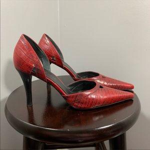Kenneth Cole deep red snake skin pattern heels